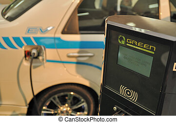 Green Electric Vehicle - Electric vehicle with charging...