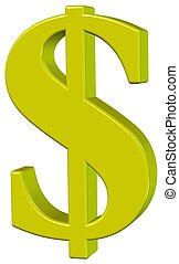 Dollar - One Dollar, object white isolated, 3D