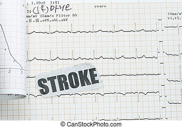 Stroke with actual ecg ekg chart - many uses in medical...