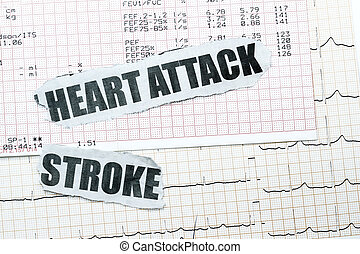 Heart attack and stroke with chart concept- many uses in the...
