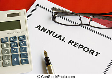 Annual Report - Image of an annual company report on an...