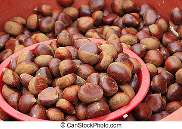 Chestnut being sold in the street of korea.