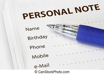 Personal information to be fill in - many uses for business.