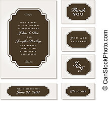Vector Ornate Brown Frame Set