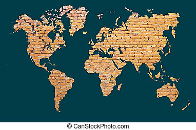 World map with continents made of brick - World map with...