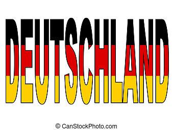 Deutschland Germany written with flag illustration