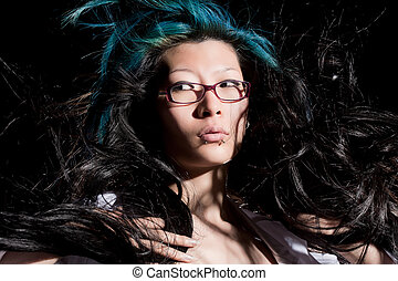 Hair monster - Chinese beauty with hair flying everywhere on...
