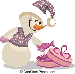 Snowman color 16 - Vector Snowman in color 16