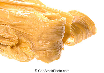Dried Soya Bean Curd Strips - Isolated macro image of dried...