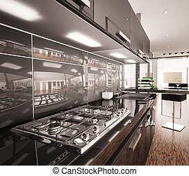 Interior of modern black kitchen 3d render - Interior of...