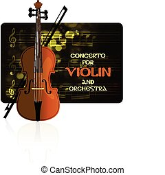 Violin with notes and bow