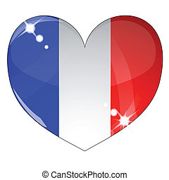 Vector heart with France flag texture isolated on a white...