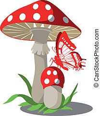 Mushrooms set 004 - Vector. Mushrooms with butterfly set 004