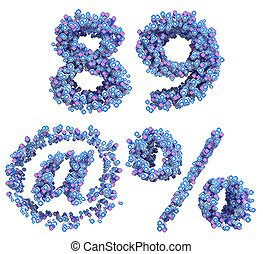 Patriotic USA font 8 9 and percent, at symbols numerals...
