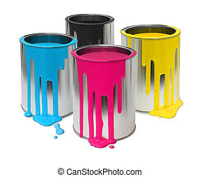 Cmyk paint tin cans - Metal tin cans with four process color...
