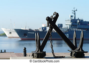 Kronstadt - city, seaport, navy, ships, anchor