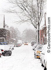 Snow in the city - Snowstorm streetview - Snow in the city -...