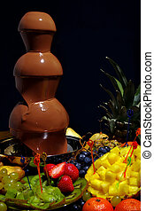 chocolate fountain - chocolate, foudue,fruit, fountain,sweet