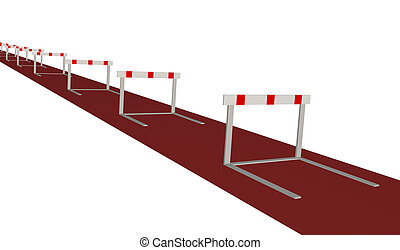 Hurdles - Image of various hurdles isolated on a white...