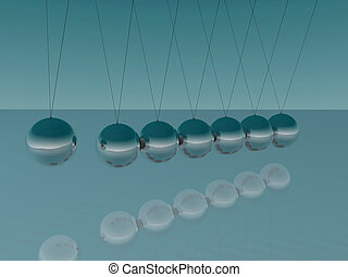 Newton's Cradle - Image of Newton's Cradle on a blue...