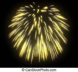 Yellow festive fireworks at night