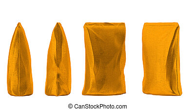 4 Golden sacking packs for coffee or tea isolated on white