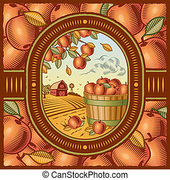 Apple harvest - Retro apple harvest in woodcut style Vector...