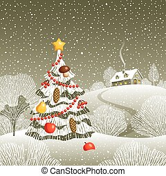 Christmas Eve - Decorative landscape with Christmas tree and...