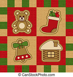 Christmas quilt - Decorative Christmas quilt with toys...