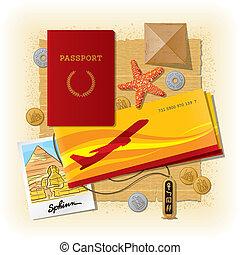 Egyptian travel still life - Vector travel still life from...