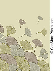 Fall of leaves - Decorative composition of ginkgo leaves...