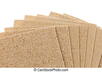 Sandpaper - set of different sandpapers isolated over white...