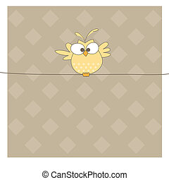 Owl on the rope. Vector illustration - One Owl on the rope....