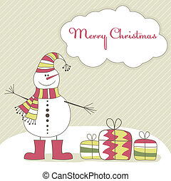 Christmas card with  snow man. Vector illustration