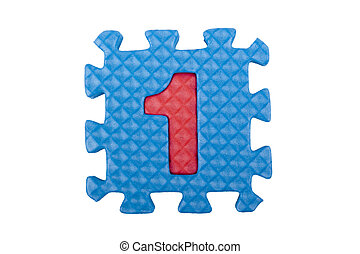 Number 1 - The figure 1 of a set of puzzles made out of...