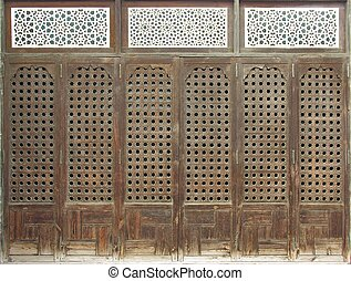 Old Window - Old wood window or door with islamic mashrabia