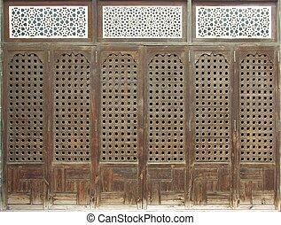Old Window - Old wood window or door with islamic mashrabia