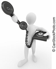 Man holding a telephone receiver on white isolated...