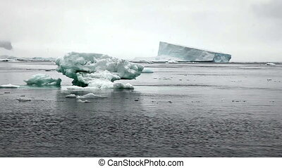 Icebergs in Antarctica Peninsula with Snow Fall