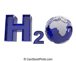 H2O. Formula of water. - H2O. Formula of water on white...