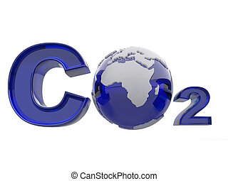CO2 Formula on white isolated background 3d