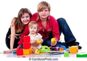 Family playing with toys