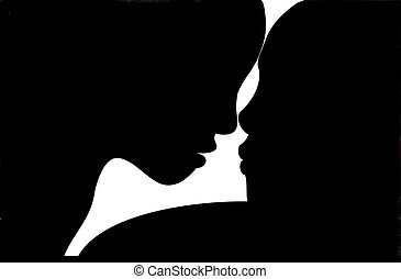 Man and Woman Silhouette - Silhouette profiles of a man and...