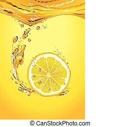 Lemon slice with bubbles - Fresh lemon slice in lemonade...