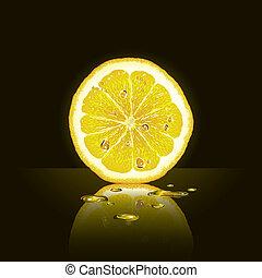 Lemon slice on black background - Fresh lemon slice on black...