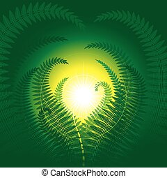 Magic fern - Decorative fantasy fern Vector illustration...