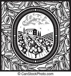 Olive grove black and white - Retro olive grove in woodcut...