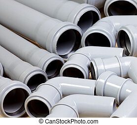 Sewer pipes - Grey PVC sewer pipes background