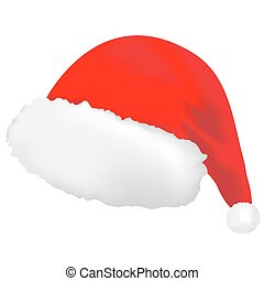 Cap of Santa Claus - Cap of red color with a white fringing...