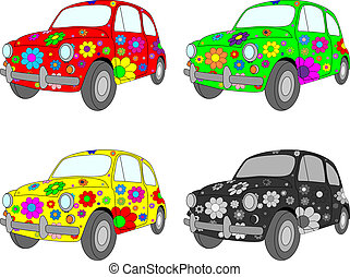 Four cars - Vector picture of four funny cars with floral...